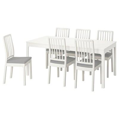 """EKEDALEN / EKEDALEN Table et 6 chaises, blanc/Orrsta gris clair, 70 7/8/94 1/2 """""""