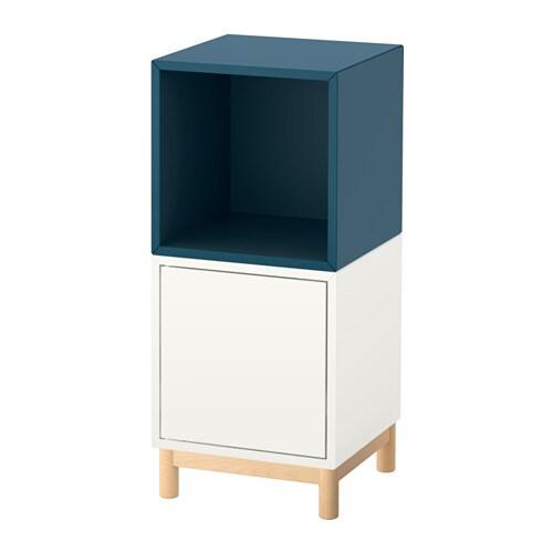 eket rangement avec pieds blanc bleu fonc ikea. Black Bedroom Furniture Sets. Home Design Ideas