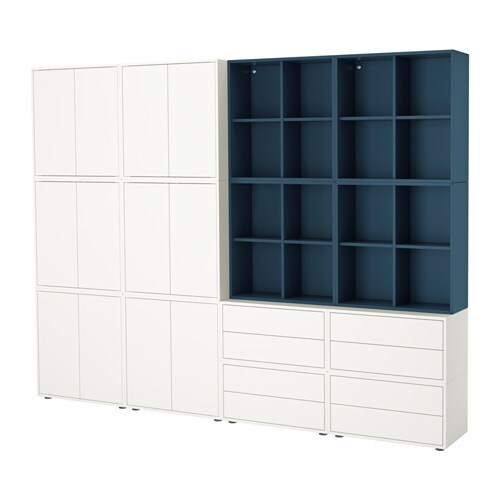 eket rangement avec pieds blanc bleu fonc ikea. Black Bedroom Furniture Sets. Home Design Ideas