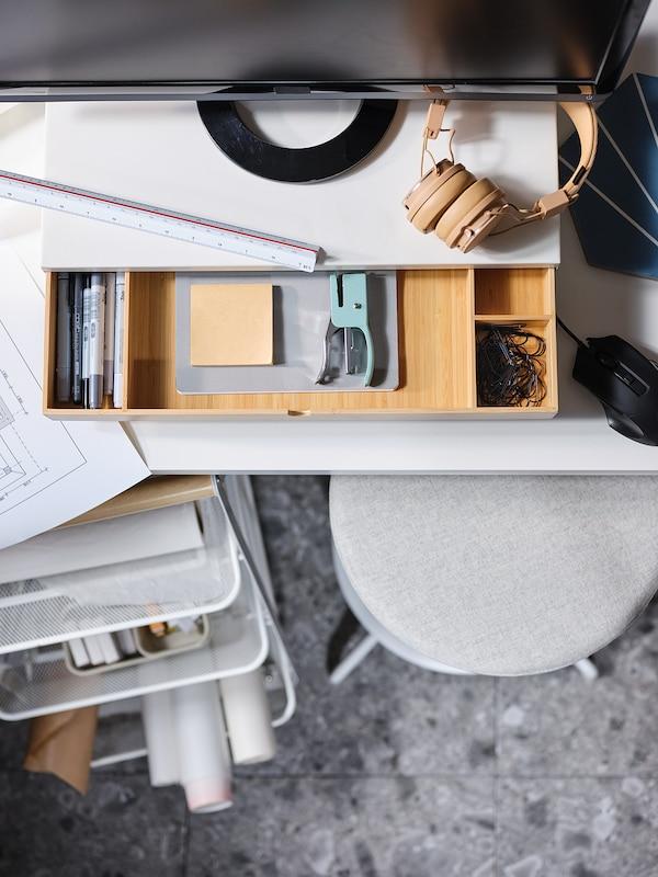 ELLOVEN Support écran avec tiroir, blanc