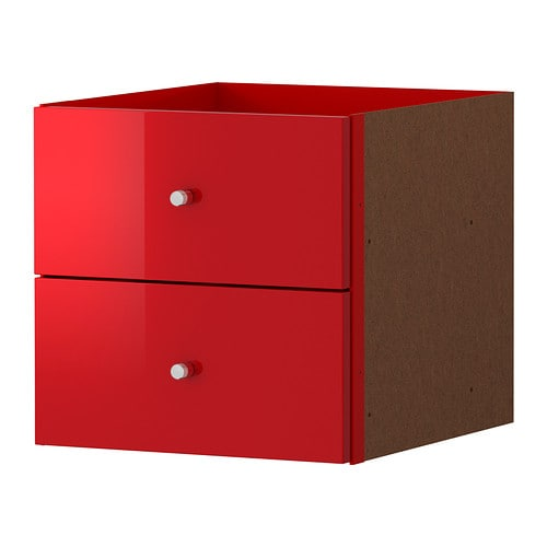 Expedit casier 2 tiroirs ultrabrillant rouge ikea - Bibliotheque casier ikea ...