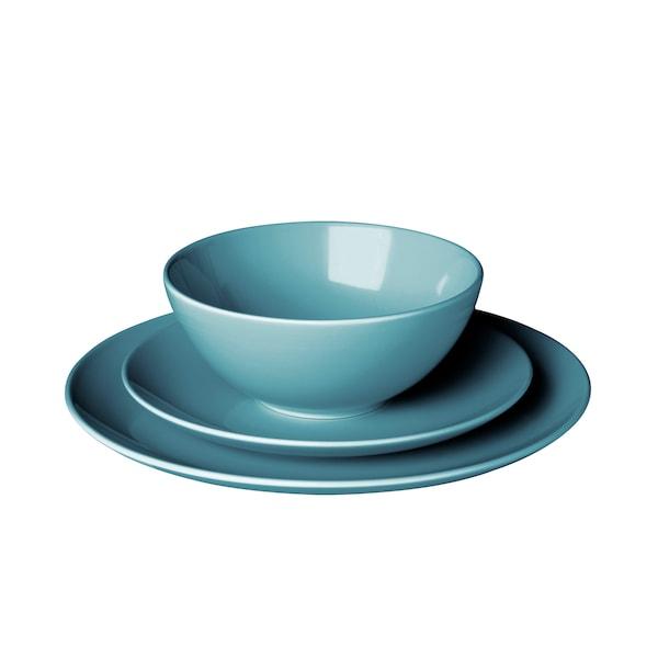FÄRGRIK service de vaisselle, 18 pièces turquoise