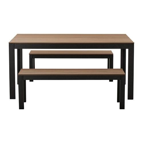 Falster table 2 bancs ext rieur noir brun ikea for Exterieur ikea