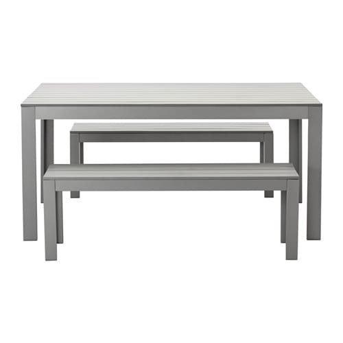 Falster table 2 bancs ext rieur gris ikea for Banc exterieur ikea