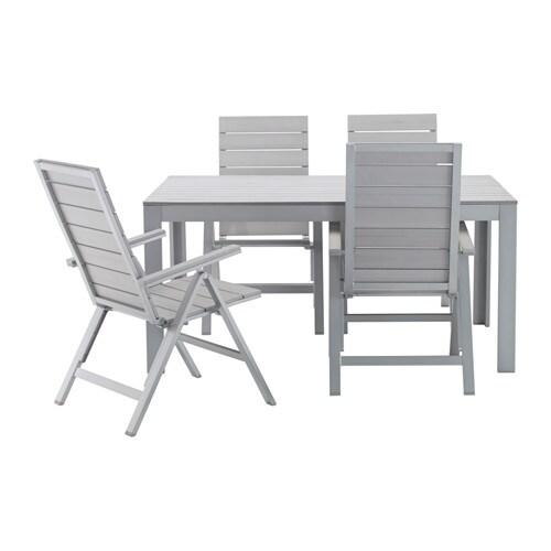 Falster table 4 chais doss incl ext rieur gris ikea for Table d exterieur ikea