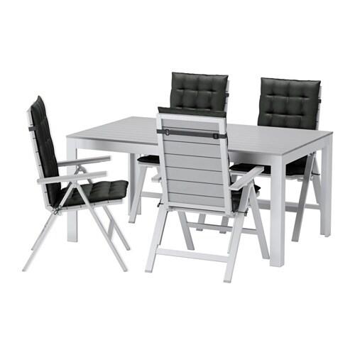 Falster table 4 chais doss incl ext rieur falster gris for Table d exterieur ikea