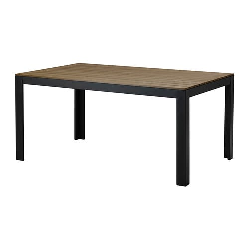 Falster table ext rieur noir brun ikea for Table exterieur plastique noir