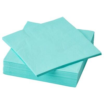 """FANTASTISK Serviette en papier, turquoise clair, 15 ¾x15 ¾ """""""