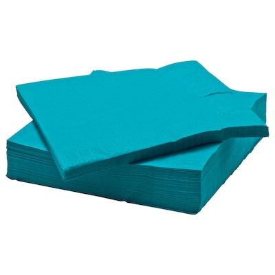 """FANTASTISK Serviette en papier, turquoise, 15 ¾x15 ¾ """""""