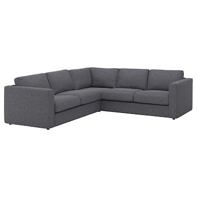 FINNALA Canapé d'angle, 4 places, Gunnared gris moyen