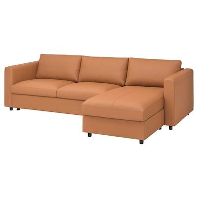FINNALA Canapé-lit, avec méridienne/Grann/Bomstad brun doré