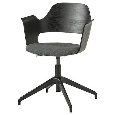FJÄLLBERGET Chaise conférence, frêne plaqué teinté noir/Gunnared gris foncé