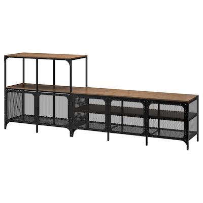 """FJÄLLBO Agencement meuble télé, noir, 98 3/8x14 1/8x37 3/8 """""""