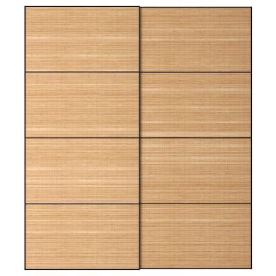 """FJELLHAMAR Portes coulissantes, 2 pièces, bambou noir, 78 3/4x92 7/8 """""""
