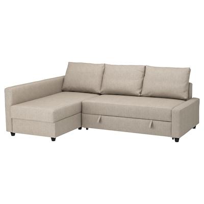 FRIHETEN Canapé-lit d'angle rgt intégré, Hyllie beige