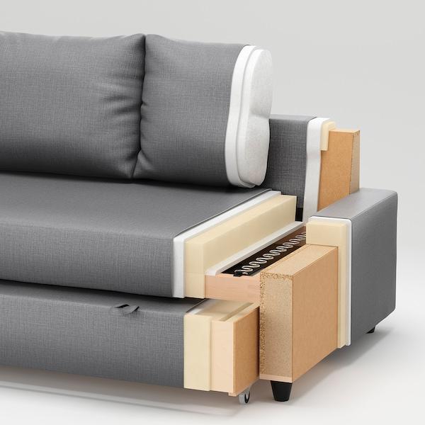 FRIHETEN Canapé-lit d'angle rgt intégré, Skiftebo gris foncé
