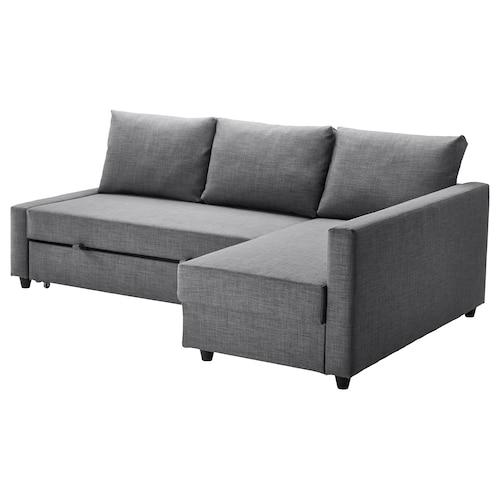 """FRIHETEN canapé-lit d'angle rgt intégré Skiftebo gris foncé 90 1/2 """" 59 1/2 """" 26 """" 55 1/8 """" 80 3/8 """""""