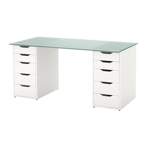 Glasholm alex table verre motif nid d 39 abeille blanc ikea - Scrivanie in vetro ikea ...