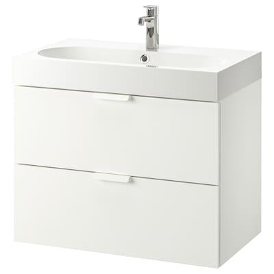 "GODMORGON / BRÅVIKEN Meuble pour lavabo, 2 tiroirs, blanc/mitigeur lavabo Brogrund, 31 1/2x18 7/8x26 3/4 """