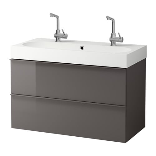 godmorgon br viken meuble pour lavabo 2 tiroirs ultrabrillant gris ikea. Black Bedroom Furniture Sets. Home Design Ideas