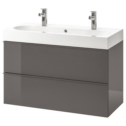 "GODMORGON / BRÅVIKEN meuble pour lavabo, 2 tiroirs ultrabrillant gris/mitigeur lavabo Brogrund 39 3/8 "" 39 3/8 "" 18 7/8 "" 26 3/4 """