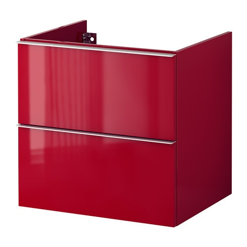 godmorgon meuble pour lavabo 2 tiroirs ultrabrillant rouge 60x47x58 cm ikea. Black Bedroom Furniture Sets. Home Design Ideas