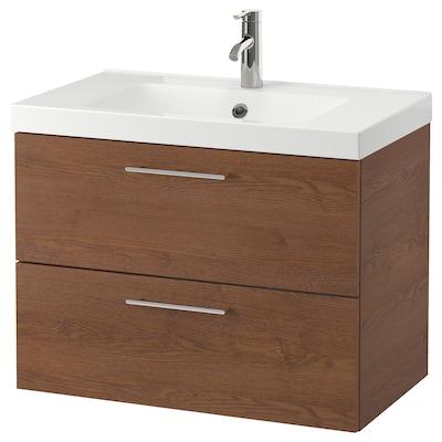 "GODMORGON / ODENSVIK Meuble pour lavabo, 2 tiroirs, effet frêne teinté brun/mitigeur lavabo Dalskär, 32 5/8x19 1/4x25 1/4 """