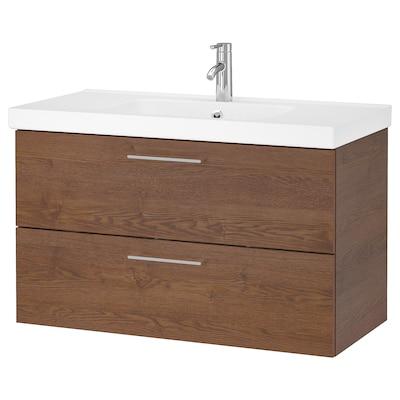 "GODMORGON / ODENSVIK Meuble pour lavabo, 2 tiroirs, effet frêne teinté brun/mitigeur lavabo Dalskär, 40 1/2x19 1/4x25 1/4 """