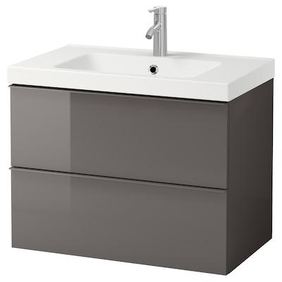 "GODMORGON / ODENSVIK Meuble pour lavabo, 2 tiroirs, ultrabrillant gris/mitigeur lavabo Dalskär, 32 5/8x19 1/4x25 1/4 """