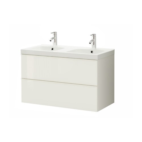 godmorgon odensvik meuble pour lavabo 2 tiroirs ultrabrillant blanc ikea. Black Bedroom Furniture Sets. Home Design Ideas