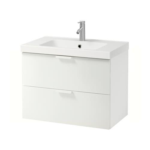 GODMORGON / ODENSVIK Meuble pour lavabo, 2 tiroirs   ultrabrillant