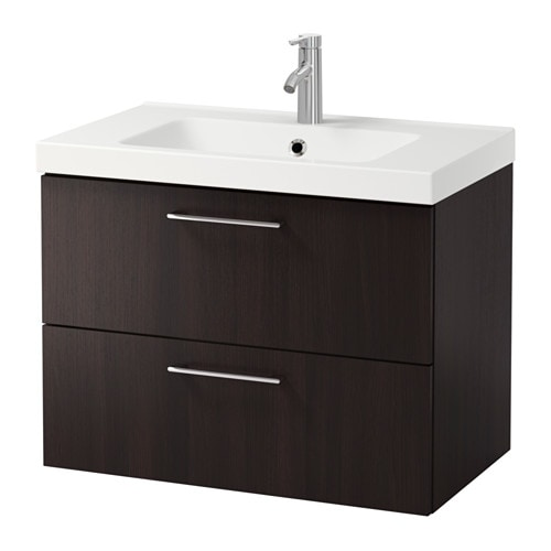 godmorgon odensvik meuble pour lavabo 2 tiroirs brun noir ikea. Black Bedroom Furniture Sets. Home Design Ideas