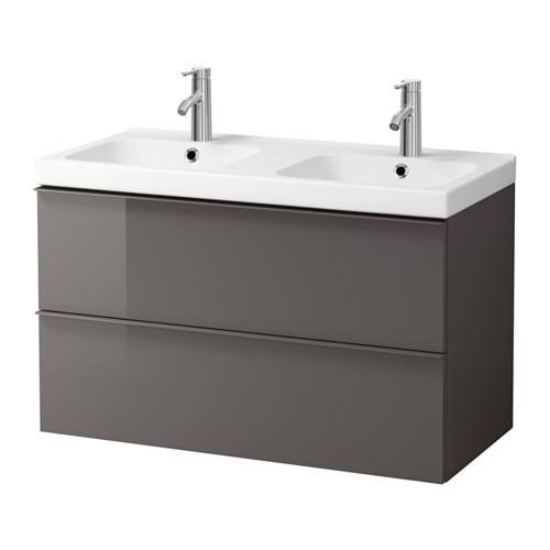 godmorgon odensvik meuble pour lavabo 2 tiroirs ultrabrillant gris ikea. Black Bedroom Furniture Sets. Home Design Ideas