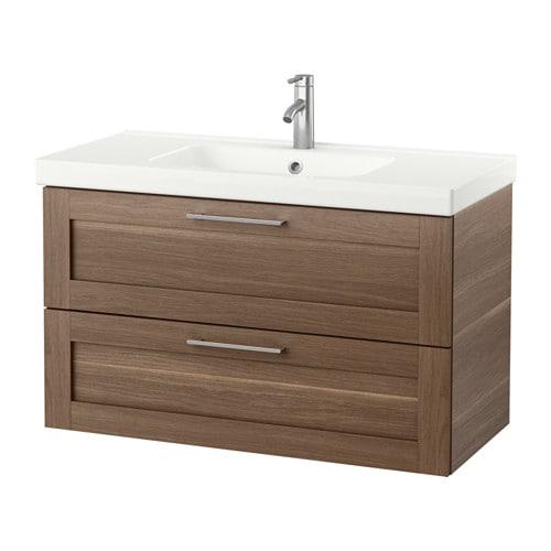 Godmorgon odensvik meuble pour lavabo 2 tiroirs effet noyer ikea - Lavabo salle de bain ikea ...