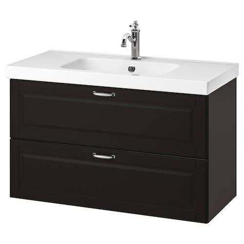"GODMORGON / ODENSVIK meuble pour lavabo, 2 tiroirs Kasjön gris foncé/mitigeur lavabo Hamnskär 40 1/2 "" 39 3/8 "" 19 1/4 "" 25 1/4 """