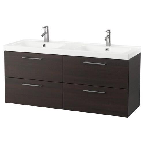 "GODMORGON / ODENSVIK meuble pour lavabo, 4 tiroirs brun-noir/mitigeur lavabo Dalskär 56 1/4 "" 55 1/8 "" 19 1/4 "" 25 1/4 """