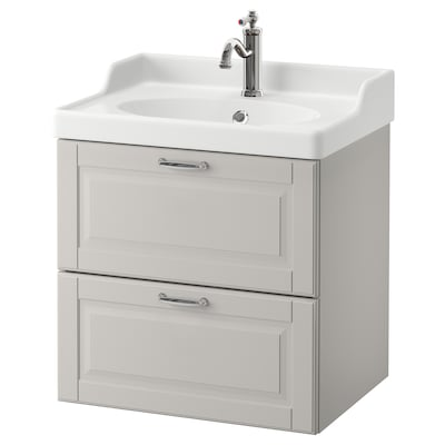 "GODMORGON / RÄTTVIKEN Meuble pour lavabo, 2 tiroirs, Kasjön gris clair/mitigeur lavabo Hamnskär, 24 3/8x19 1/4x26 3/4 """