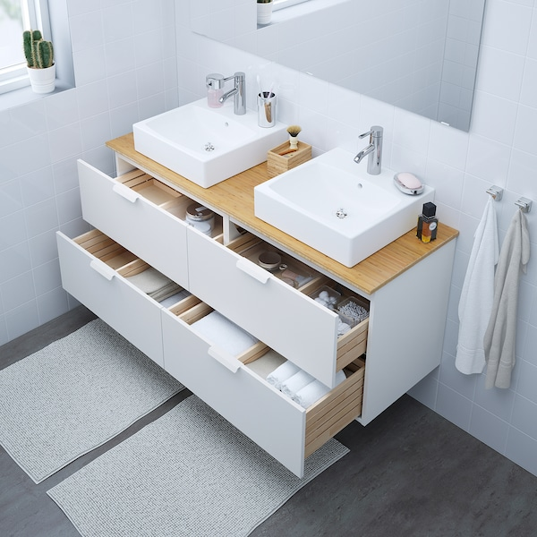 "GODMORGON/TOLKEN / TÖRNVIKEN Meuble lavabo av lav à poser 45x45, blanc/bambou mitigeur lavabo Dalskär, 55 7/8x19 1/4x28 3/8 """