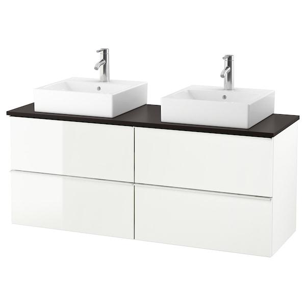 "GODMORGON/TOLKEN / TÖRNVIKEN Meuble lavabo av lav à poser 45x45, ultrabrillant blanc/anthracite mitigeur lavabo Dalskär, 55 7/8x19 1/4x28 3/8 """