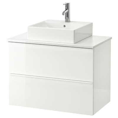 """GODMORGON/TOLKEN / TÖRNVIKEN Meuble lavabo av lav à poser 45x45, ultrabrillant blanc/marbré mitigeur lavabo Dalskär, 32 1/4x19 1/4x28 3/8 """""""