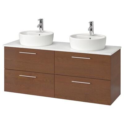 "GODMORGON/TOLKEN / TÖRNVIKEN Meuble-lavabo av vasque 45, effet frêne teinté brun/marbré mitigeur lavabo Dalskär, 55 7/8x19 1/4x29 1/8 """