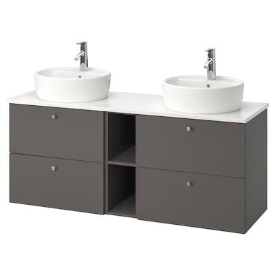 """GODMORGON/TOLKEN / TÖRNVIKEN Meuble-lavabo av vasque 45, Gillburen gris foncé/marbré mitigeur lavabo Dalskär, 55 7/8x19 1/4x29 1/8 """""""