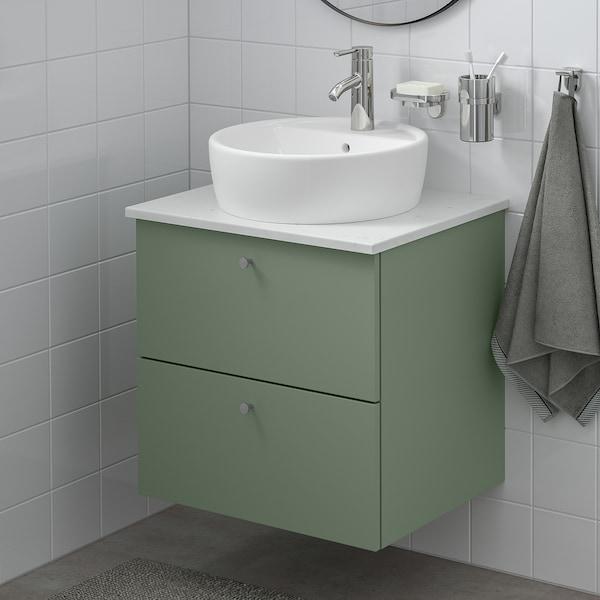 """GODMORGON/TOLKEN / TÖRNVIKEN Meuble-lavabo av vasque 45, Gillburen gris-vert/marbré mitigeur lavabo Dalskär, 24 3/8x19 1/4x29 1/8 """""""