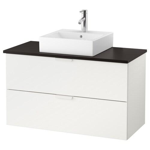 """GODMORGON/TOLKEN / TÖRNVIKEN meuble lavabo av lav à poser 45x45 blanc/anthracite mitigeur lavabo Dalskär 40 1/8 """" 39 3/8 """" 19 1/4 """" 28 3/8 """""""