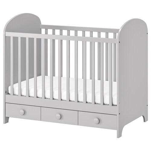 """GONATT lit bébé gris clair 53 1/2 """" 29 1/2 """" 43 3/4 """" 27 1/2 """" 52 """" 50 lb"""
