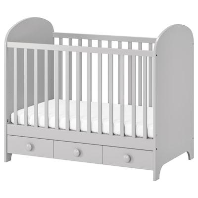 "GONATT Lit de bébé, gris clair, 27 1/2x52 """