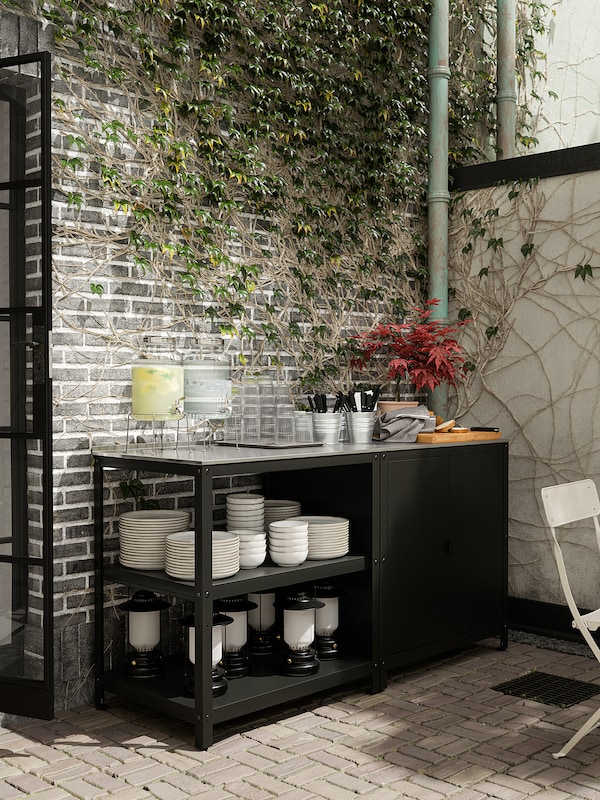 "GRILLSKÄR Îlot cuisine av étagère, noir/acier inox extérieur, 33 7/8x24 """