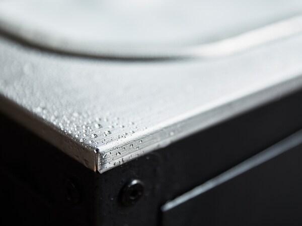 """GRILLSKÄR Meuble évier, noir/acier inox extérieur, 33 7/8x24 """""""