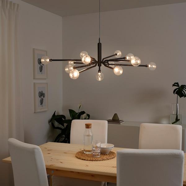 GRINSBYN Lustre avec ampoules, 13 branches, noir