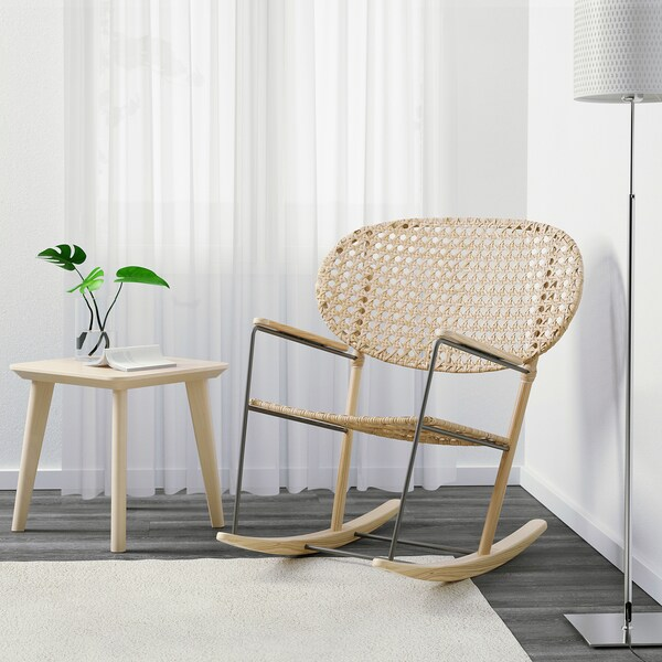 GRÖNADAL Chaise berçante, gris/naturel
